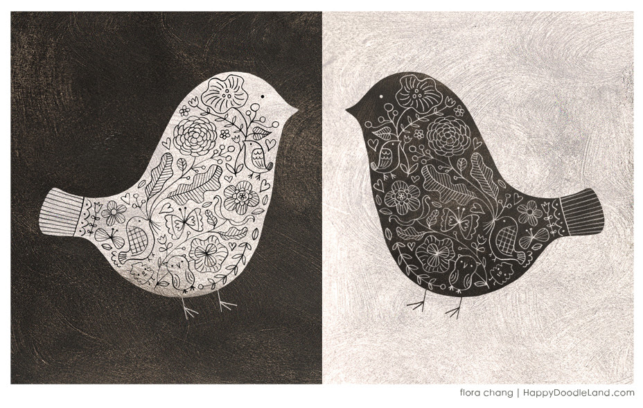 Black and White Floral Birds