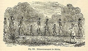 Slave transport in Africa, depicted in a 19th-...