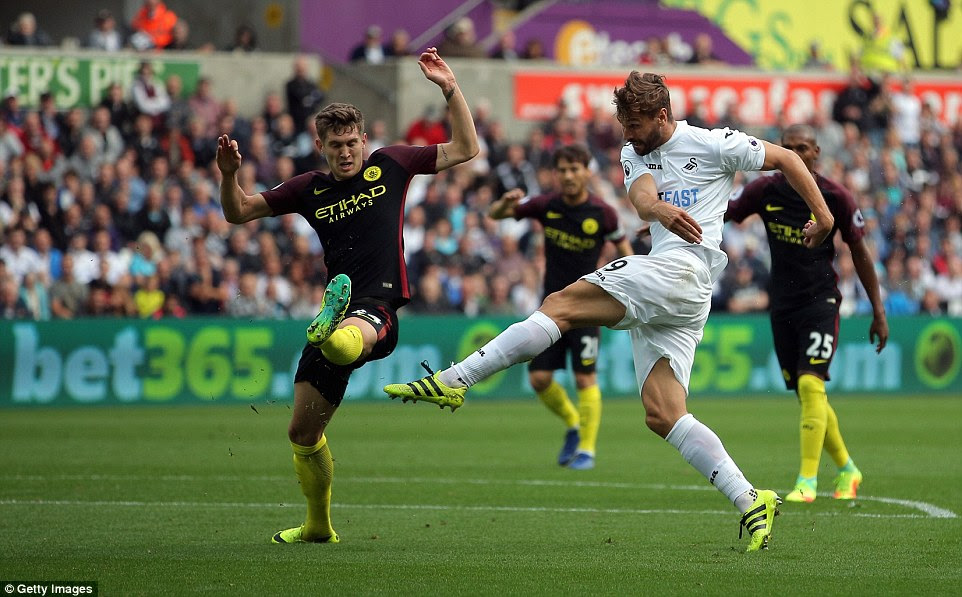 City had won in all nine of Guardiola's opening games in charge, but they were pegged back by Swansea's Fernando Llorente