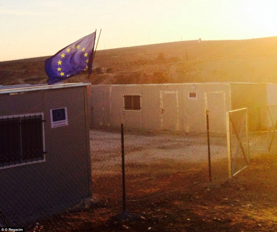 Brazen: The EU flag flies above an unauthorised building erected for Palestinians in Area C of the West Bank