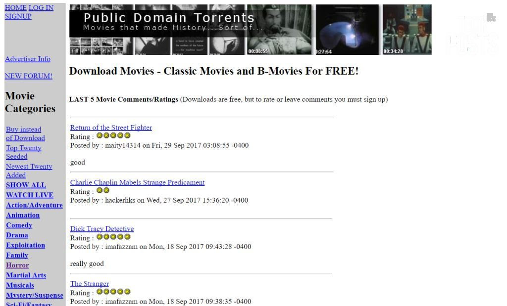 Public Domain Movie Torrents with PDA iPod Divx PSP versions