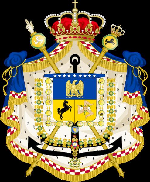Archivo: Medio Escudo de Armas de Joachim Murat como rey de Naples.svg