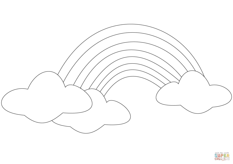 ausmalbild regenbogen mit wolken  malvorlage regenbogen