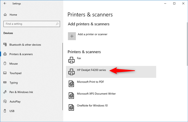 A printer that has been added to Windows 10