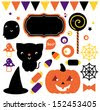 Halloween party set isolated on white - stock vector