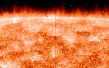 <p>En el limbo o borde del Sol se observanmultitud de espículas, que salen disparadas desde la superficie, según ha captado el satélite IRIS de laNASA/NASA IRIS spectrograph</p>