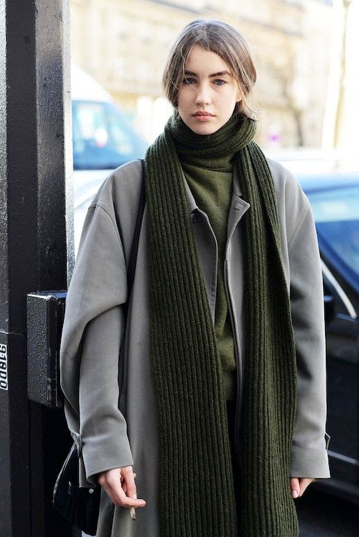 Le Fashion Blog Fashion Week Street Style Dark Green And Grey Color Combination Oversized Scarf Turtleneck Sweater Long Grey Coat Via Vogue