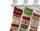 Personalized Knitted Christmas Stockings Red Green White - eugenie2