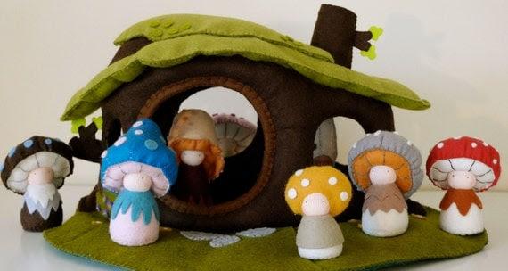 Eco-Friendly Dollhouse / playscape / natural wool felt
