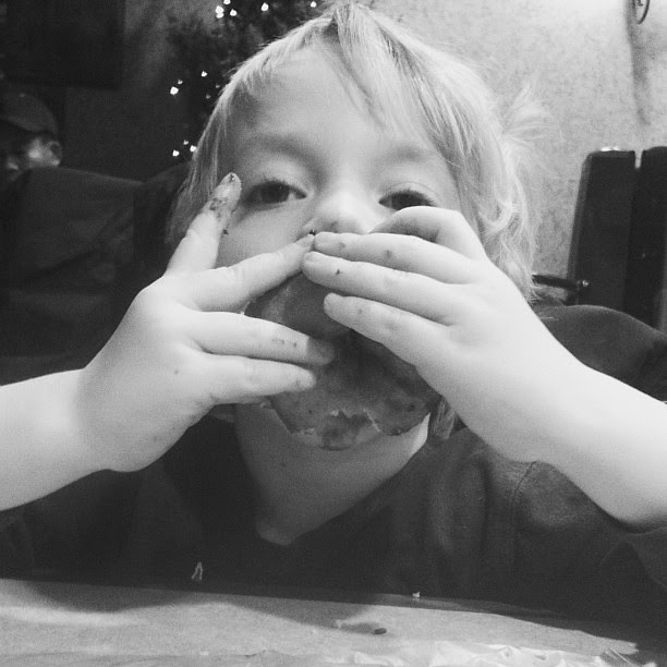 Well that's one way to eat a doughnut!