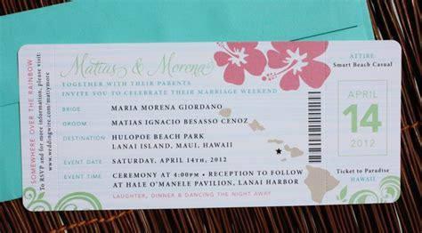 Pink, Green & Turquoise Swirl and Hibiscus Airline Ticket