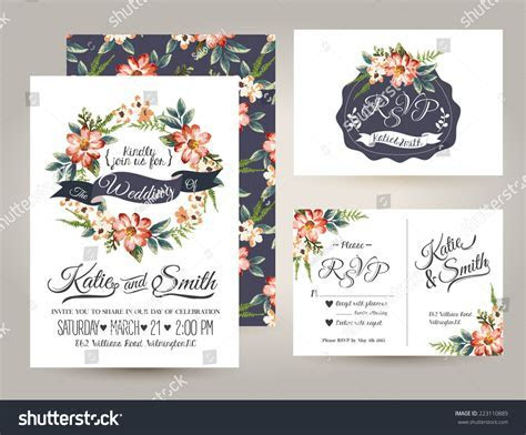 Wedding Invitation Card Suite Daisy Flower Stock Vector