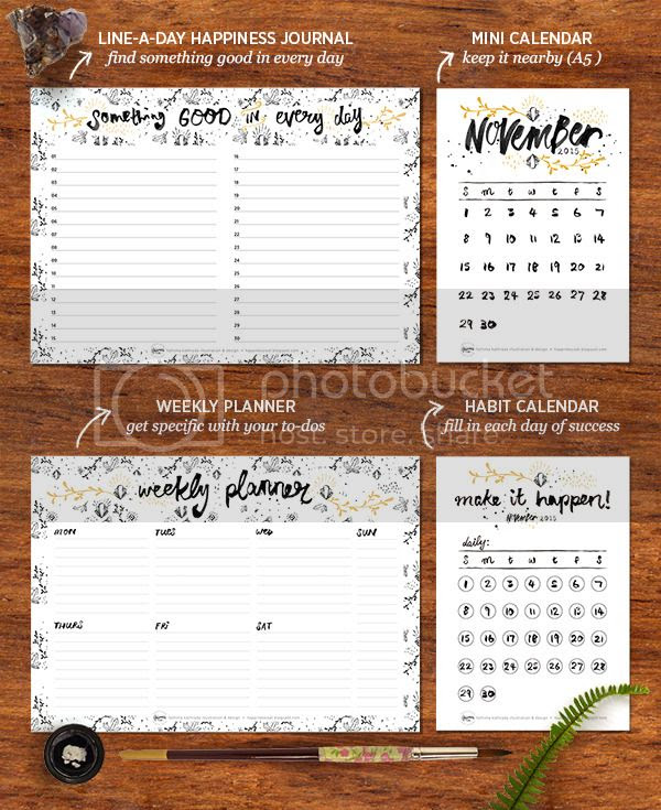Happiness is... November 2015 Free Printable Calendar and Planner Pack