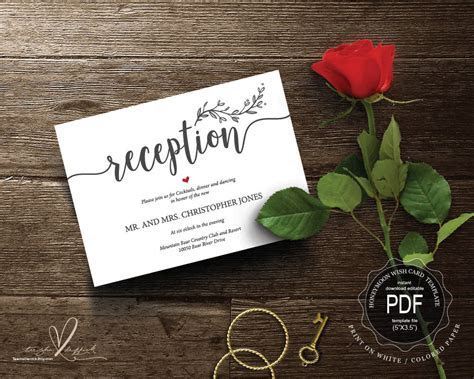 Wedding Reception PDF card template instant download