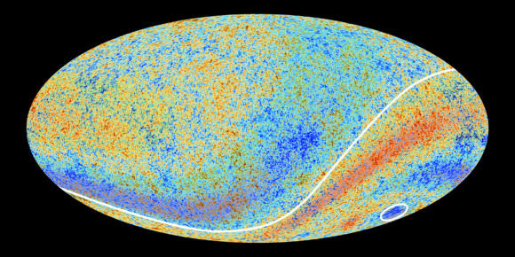 The cosmic microwave background radiation, enhanced to show the anomalies. Credit: ESA and the Planck Collaboration