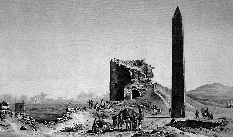 File:Description de l'Egypte, Antiquites V, Plate 32, Cleopatra's needles and the Tower of the Romans, drawn c.1798, published in the Panckoucke edition of 1821-9.jpg