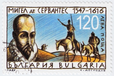miguel de cervantes: BULGARIA - CIRCA 1997  stamp printed in Bulgaria shows Miguel de Cervantes Spanish novelist, poet and playwright, circa 1997 Editorial