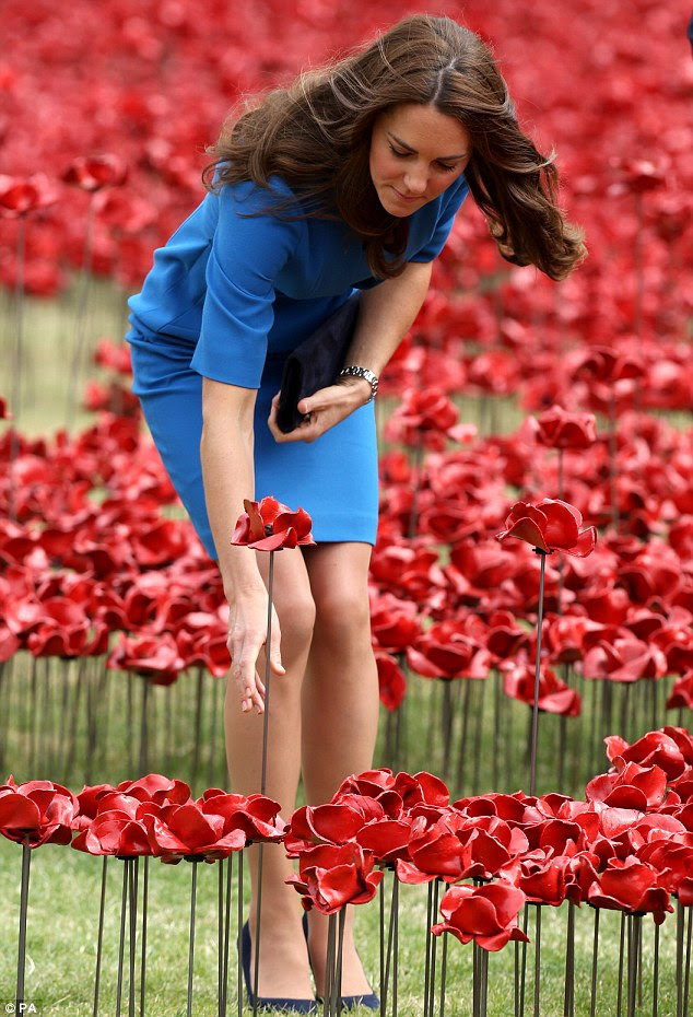 Respect: The Duchess of Cambridge plants a poppy at the Tower of London in August