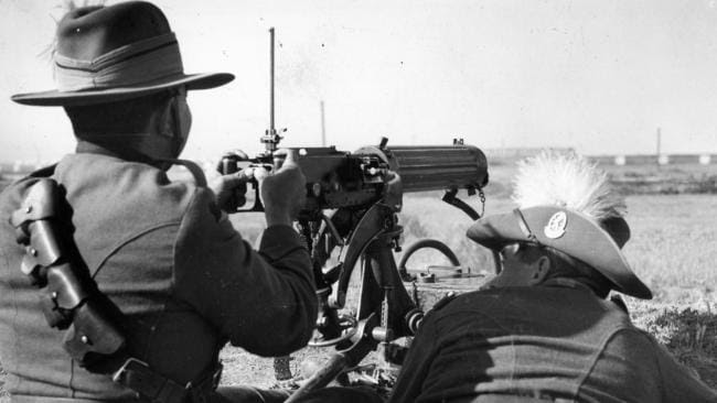 Australian Army machine gunners were drafted in to take on the big new threat — emus. Picture: The Advertiser/Krischock.