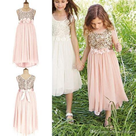 Aliexpress.com : Buy Glitter Gold Pink Flower Girl Dress