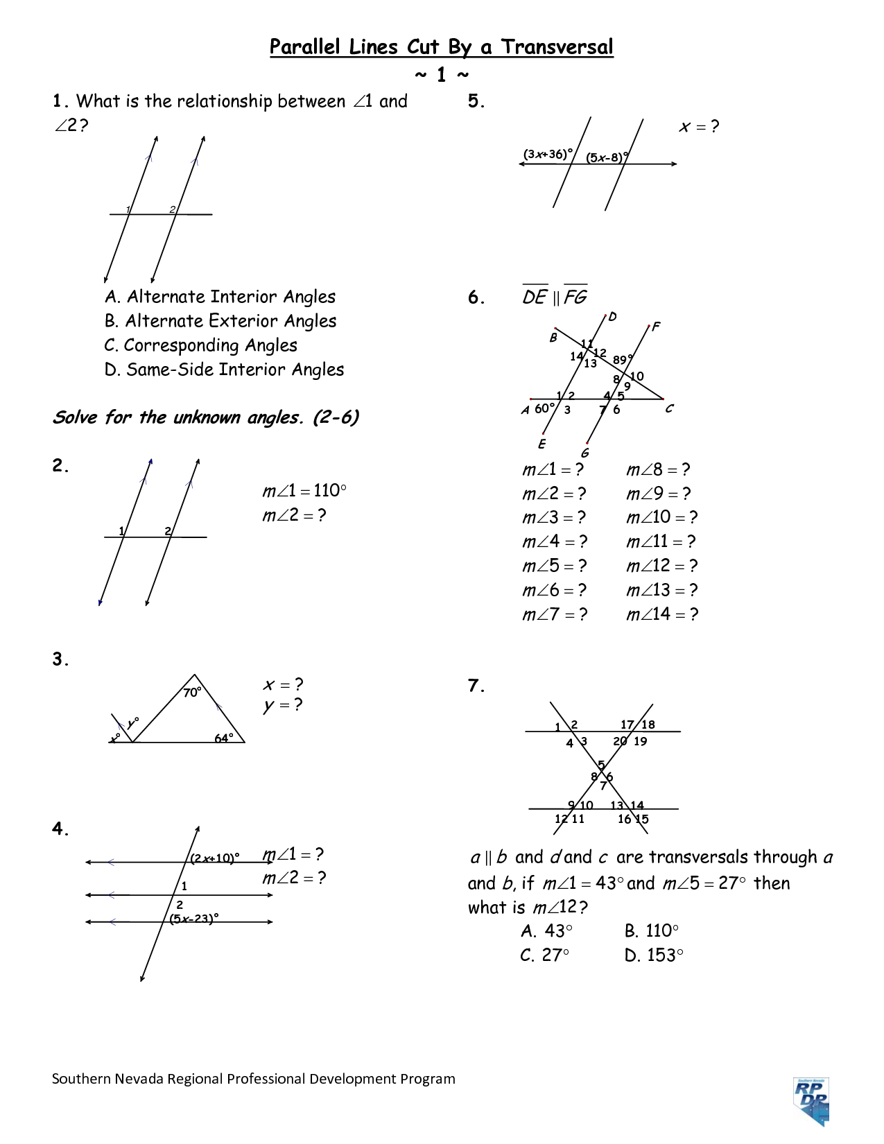 8 Best Images of Parallel Lines And Angles Worksheet  Angles with Parallel Lines Worksheet