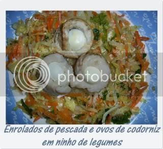 Enrolados de pescada e ovos de codorniz em ninho ...1