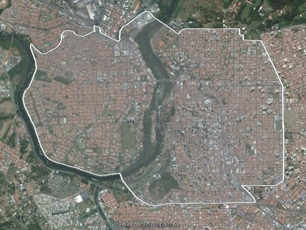 Área central de Piracicaba onde o Aedes do bem será liberado (Foto: Reprodução/Google)