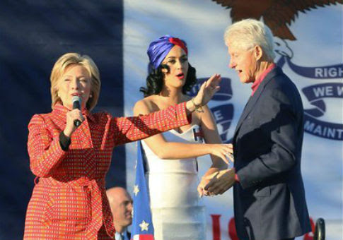 Hillary Clinton, Katy Perry, and Bill Clinton / AP