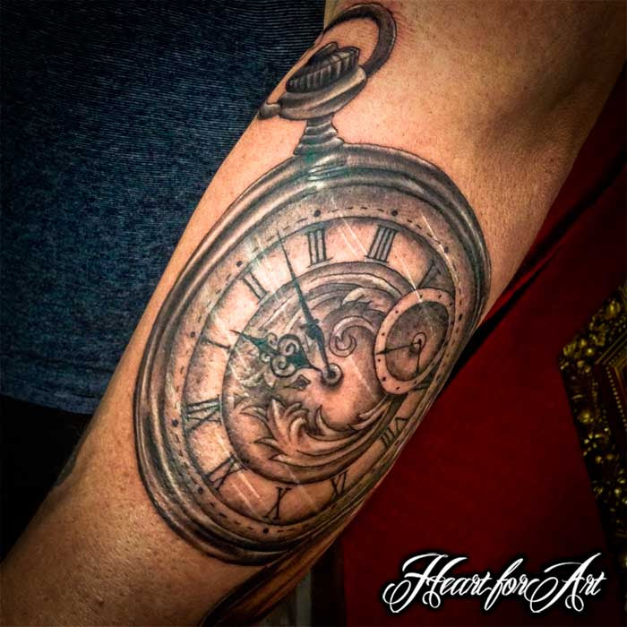 Realistic Pocket Watch Tattoo Heart For Art Tattoo Shop