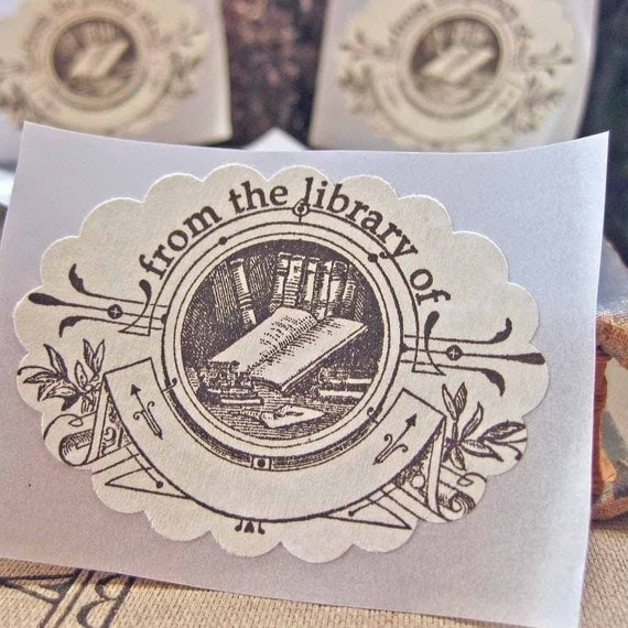 Bookplate Stickers-Vintage Inspired- Black on Parchment