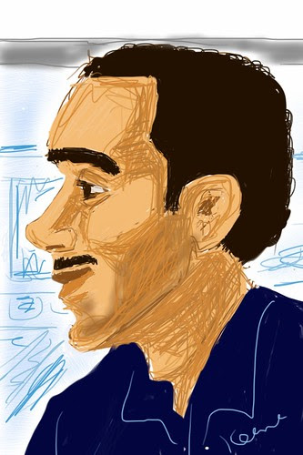 iPhone drawing - Young man on train