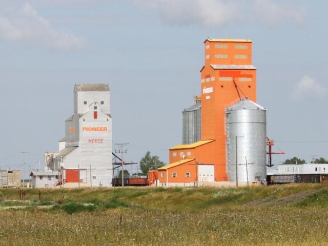 Pioneer grain elevators in Morse, SK