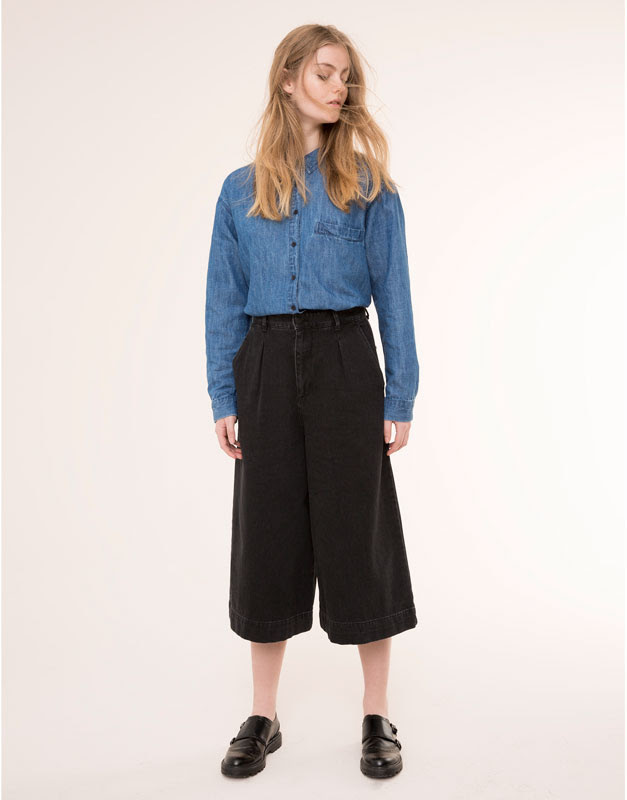 Pull&Bear - mujer - jeans - pantalón culotte vaquero - negro - 09684329-I2015