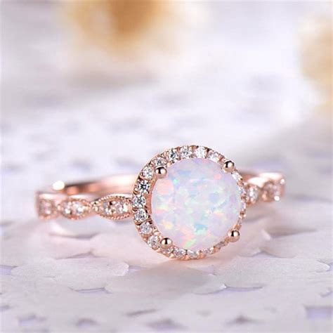 ROMAD Dainty Round Fire Opal Rings for Women Rose Gold CZ