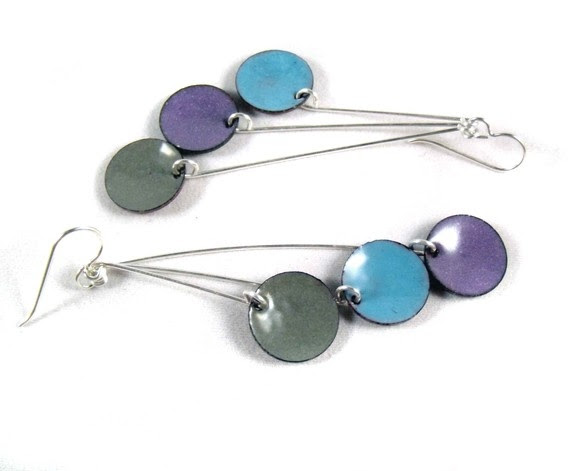 aqua blue, slate gray, iris purple earrings