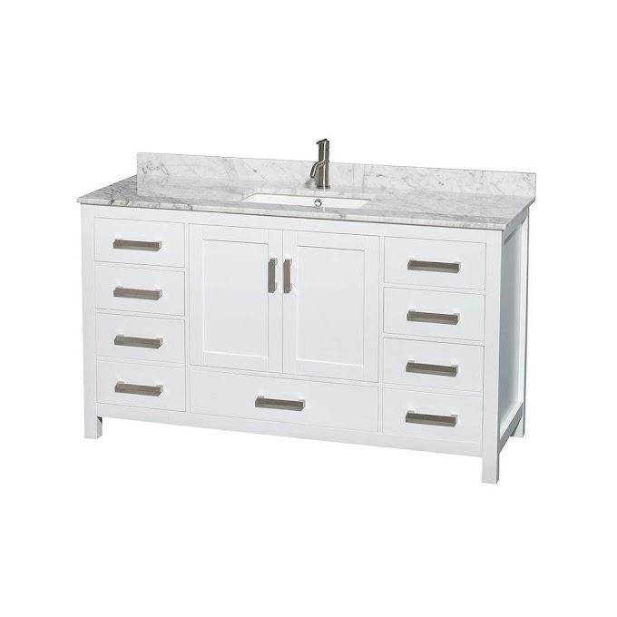 60 Inch Vanity Top Single Sink White