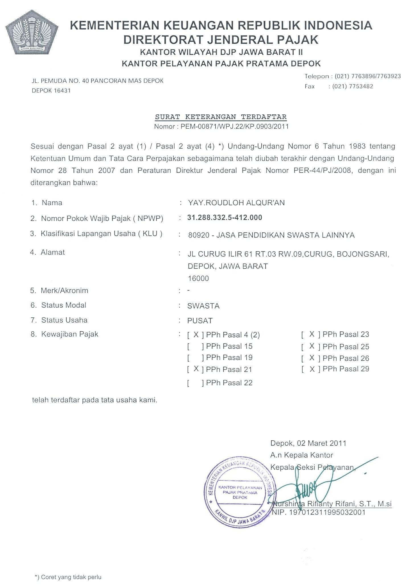 contoh surat pernyataan yayasan sebagai organisasi non