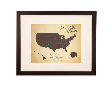 US Family Travels Map   Paper anniversary   Cotton