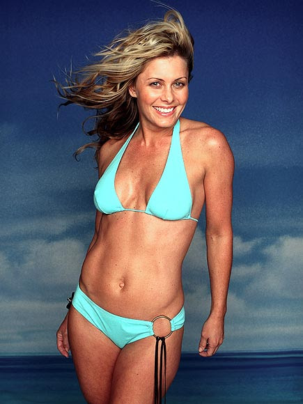 Nicole Eggert hot blue bikini pictures