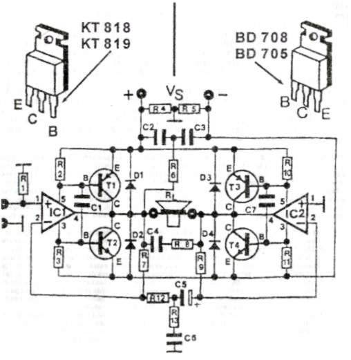 200 w power amplifier schematic diagram