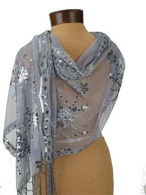 Embroidered Silver Tulle Evening Wrap Sequin Fringed