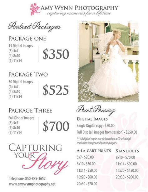 Wedding Photography Price List Session by