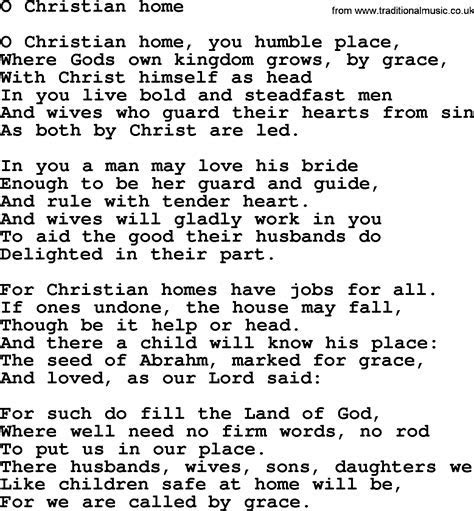 Wedding Hymns and songs: O Christian Home.txt   lyrics
