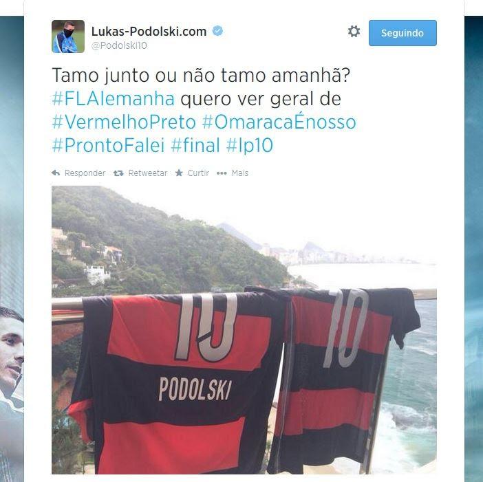 Podolski pede que torcedores do Flamengo vistam vermelho e preto
