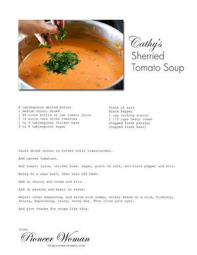 Pioneer Woman Sherried Tomato Soup