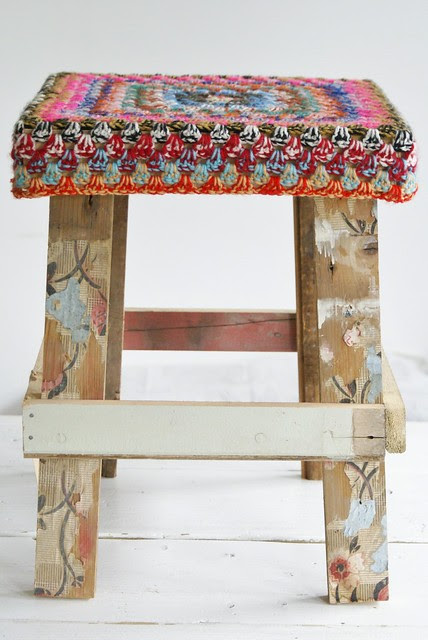 wood & wool 'fashion' stool