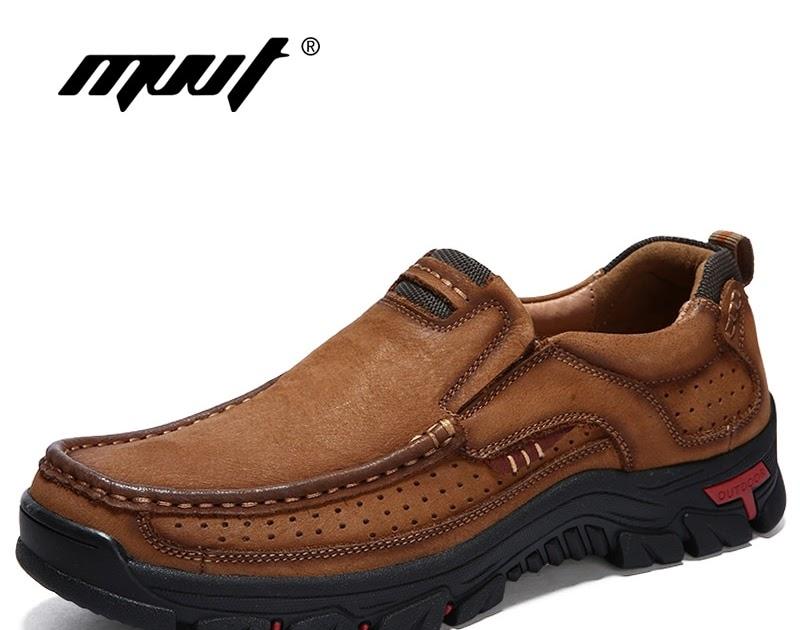 5a4315379818d2 Comprar MVVT 100% Zapatos De Cuero Genuino Vaca Los Hombres Casuales Hombre  Al Aire Libre La Alta Calidad Pisos 2 Encaje Estilo Calzado Online Baratos  ~ ...