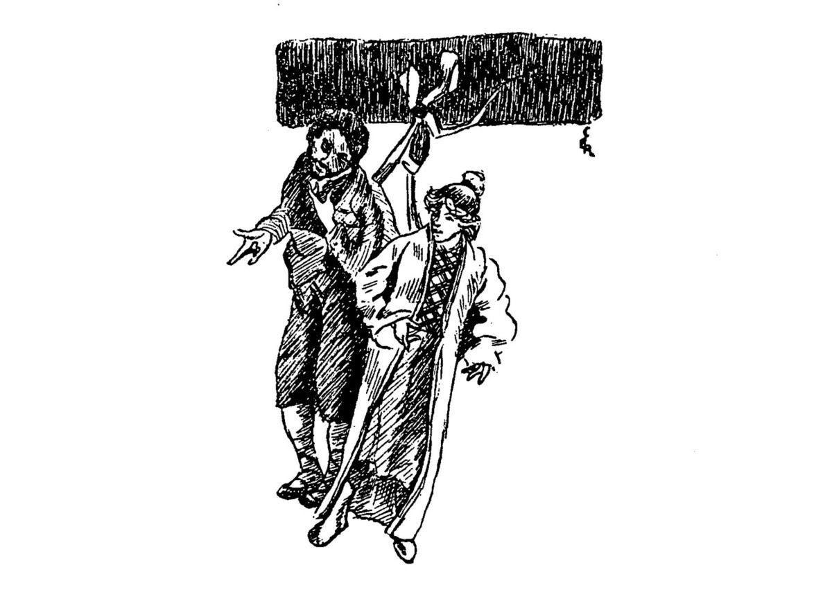 """Claire Demolder, vignette pour la revue """"Le Mercure de France"""", n°113, mai 1899, p.315, pour «L'Homme qui pouvait accomplir des miracles» de H.G. Wells."""