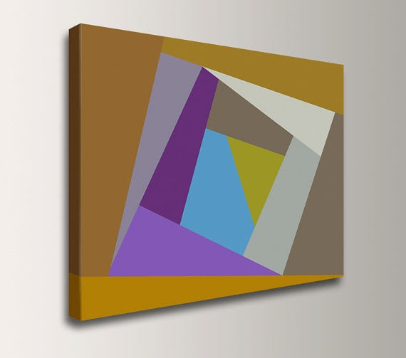 Abstract Geometric Artwork - 24x32 Canvas - Purple and Orange - Modern Art on Canvas - Poolside via Etsy