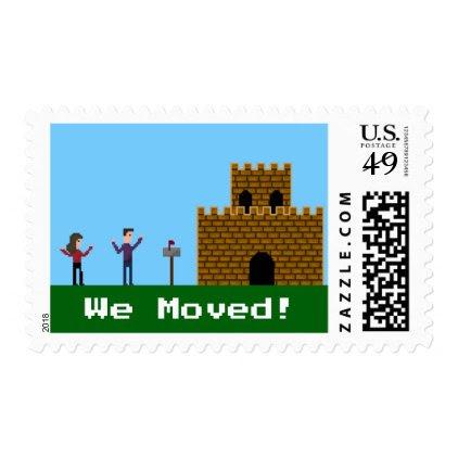 We Moved Geek Gamer 8Bit Pixel Stamp